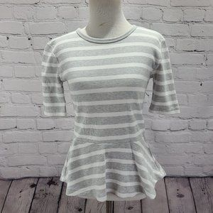 Gap grey and white striped short sleeve fit waist